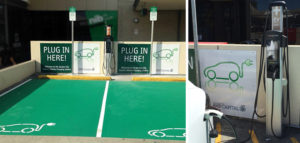 Electric car charging station at Garden City shopping centre Perth